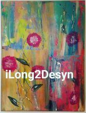 """""""Floral Rain"""" 11x14 - 3 in deep"""